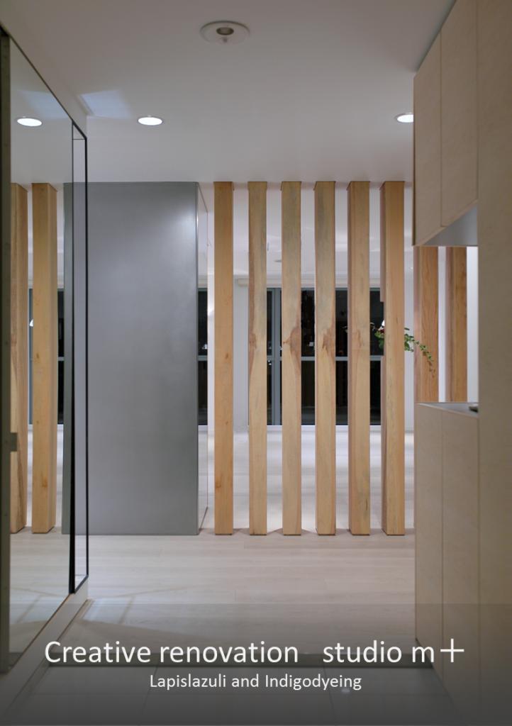 SUSと地松を使った住人の知性を感じさせる玄関のデティール。 神戸×リノベーション×studio m+