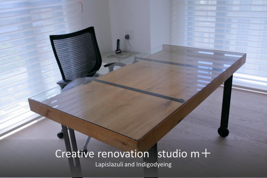 テーパー加工された天板ガラス 大阪のマンションリノベーションに納品したオリジナル家具