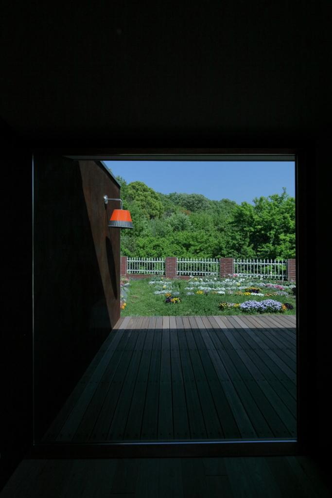 戸建てリノベーションからみた借景のある庭